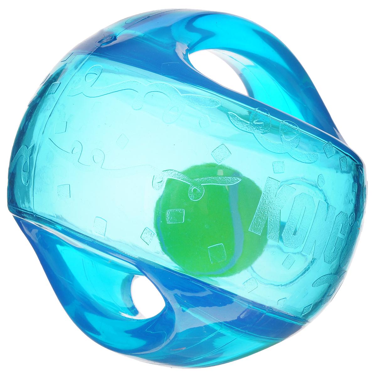Игрушка для собак Kong Мячик, с пищалкой, цвет: прозрачный, синий, 12 х 12 х 12 см670STEXИгрушка для собак Kong Мячик, выполненная извысококачественного каучука, представляет собой мяч 2 в 1.Теннисный мяч, расположенный внутри, гремит и будетпривлекать внимание вашего питомца, побуждая достать его.Просто потрясите игрушку. Удобные ручки служат дляподнятия. Также изделие оснащено пищалкой.С такой игрушкой вы сможете играть в захватывающие иактивные игры с вашей собакой. Она прекрасно подходит дляживотных среднего и крупного размера, с сильными челюстямии для использования в качестве дрессировочного предмета.