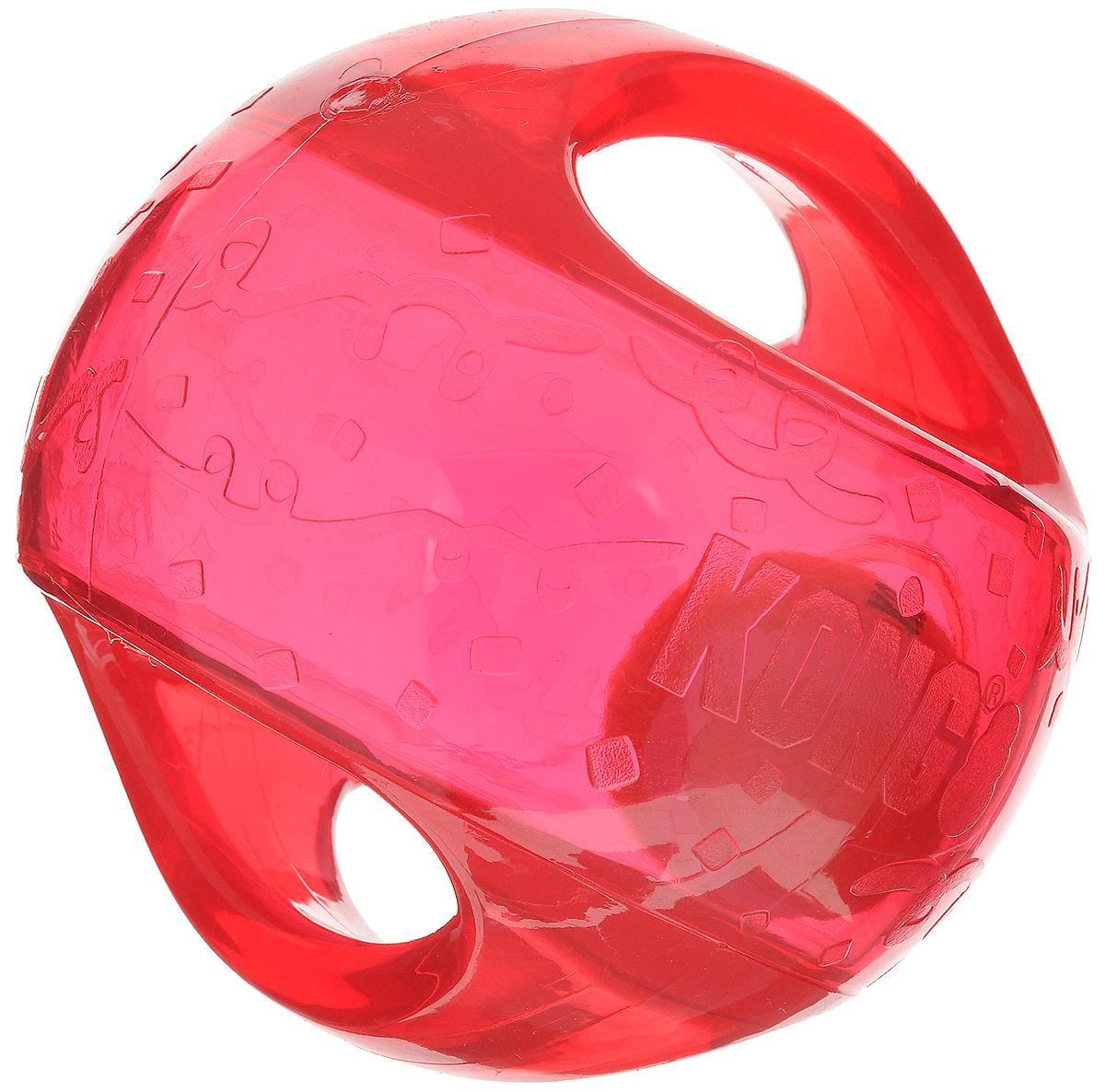 Игрушка для собак Kong Мячик, с пищалкой, цвет: прозрачный, красный, 12 х 12 х 12 см0120710Игрушка для собак Kong Мячик, выполненная извысококачественного каучука, представляет собой мяч 2 в 1.Теннисный мяч, расположенный внутри, гремит и будетпривлекать внимание вашего питомца, побуждая достать его.Просто потрясите игрушку. Удобные ручки служат дляподнятия. Также изделие оснащено пищалкой.С такой игрушкой вы сможете играть в захватывающие иактивные игры с вашей собакой. Она прекрасно подходит дляживотных среднего и крупного размера, с сильными челюстямии для использования в качестве дрессировочного предмета.