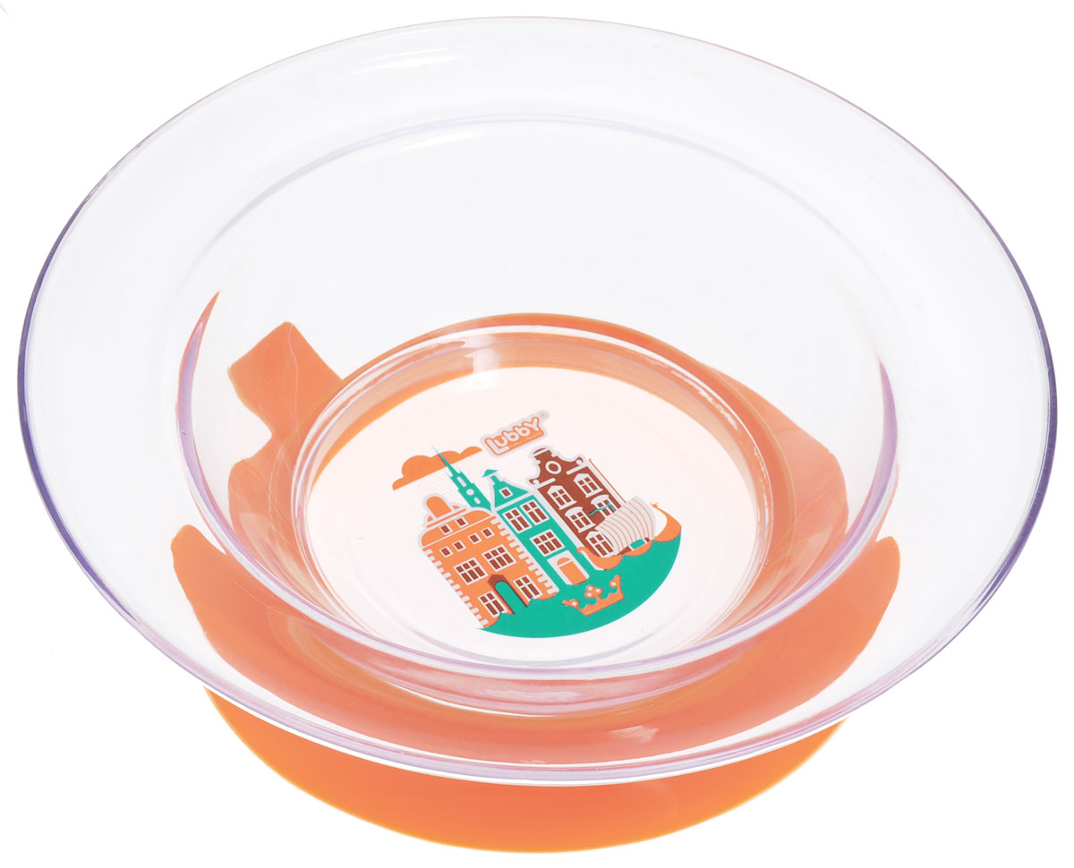 Lubby Тарелка детская Любимая цвет прозрачный оранжевый13953_оранжевыйДетская тарелка Lubby Любимая незаменима в период, когда ваш малыш учится кушать самостоятельно.Тарелка не скользит - присоска надежно фиксирует положение тарелки на столе или любой другой гладкой поверхности. Теперь ребенок не сможет сдвинуть тарелку. При необходимости тарелка легко снимается взрослым. Яркий дизайн превращает процесс кормления в увлекательную игру. Высокие бортики тарелки позволяют пище дольше оставаться теплой. Тарелка предназначена для кормления детей от 6 месяцев.Объем тарелки: 300 мл.