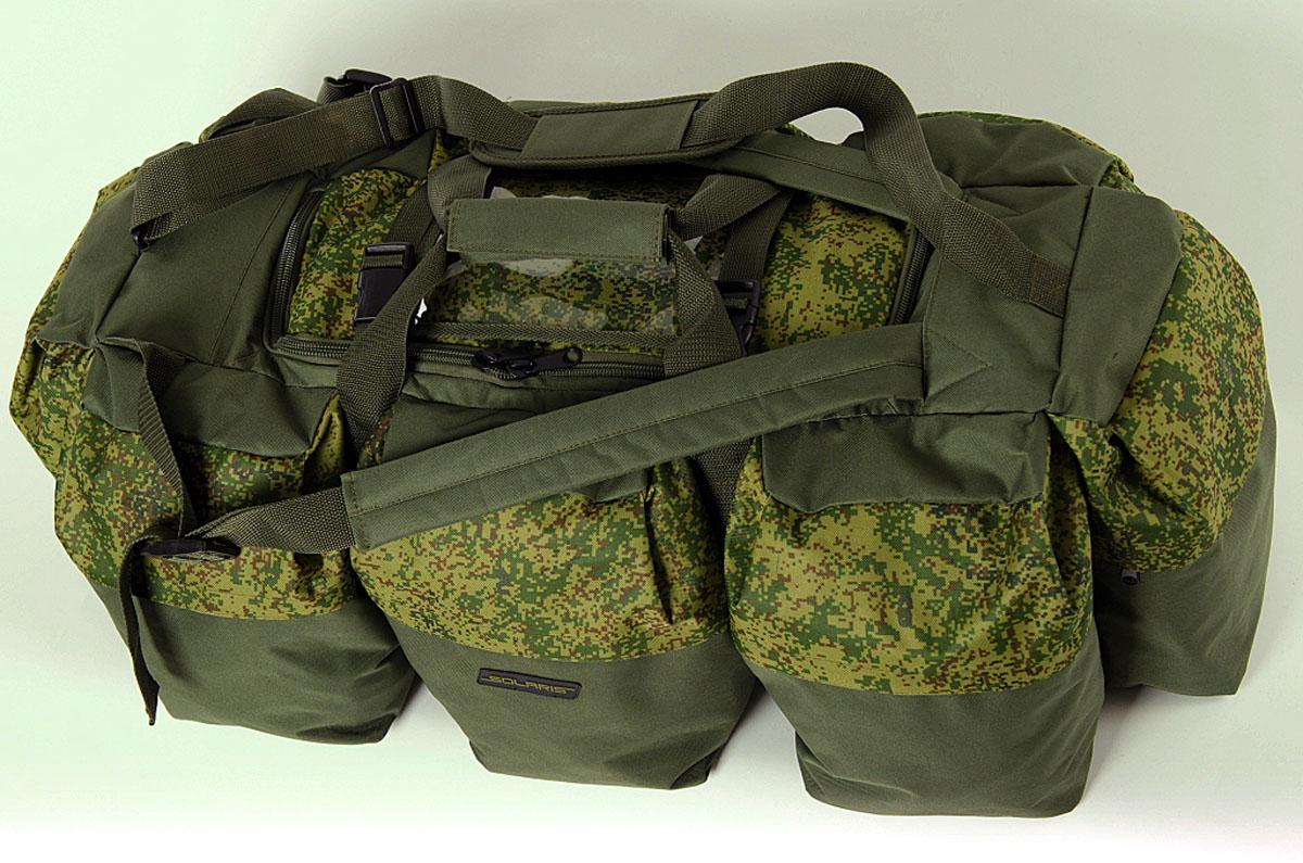 Сумка-рюкзак Solaris Экспедиционная, цвет : оливковый, 120 л. S5205S5205Очень объёмная дорожная сумка-рюкзак из высококачественной износостойкой непромокаемой ткани ПВХ предназначена для экспедиций с повышенной автономностью, серьёзных охотничьих туров, больших автопутешествий и т.п. Во многих случаях сумка позволяет упаковать все необходимые вещи и не применять другую поклажу. Сумка имеет две дополнительные плечевые лямки и её удобно использовать в качестве рюкзака. Неиспользуемые плечевые лямки можно зафиксировать при помощи ремней с пряжками (на клапане центрального отделения). Сумку также можно переносить на одном плече с помощью основной плечевой лямки. Сумка имеет 9 отделений: основное отделение и восемь больших боковых карманов. Кроме того, на клапане центрального отделения имеется прозрачный карман для списка вещей. Боковые карманы пронумерованы, что облегчает поиск вещей. Молнии на боковых карманах дополнительно защищены от пыли и влаги тканевым кантом-бортиком. Общий объём сумки: 120 литров. Размер: 95 х 45 х 32 см.