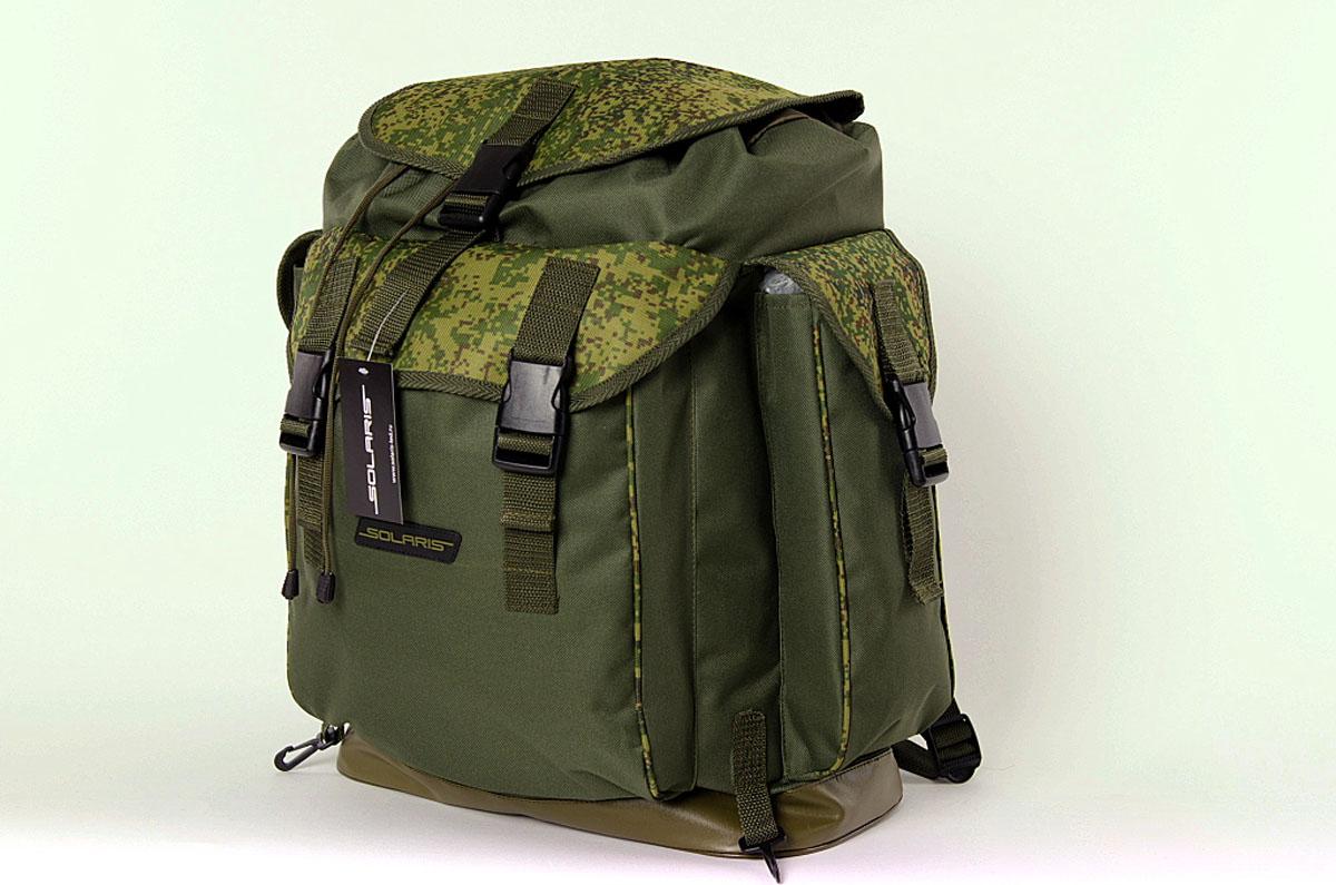 Рюкзак классический Solaris, цвет : оливковый, 43 л. S5305Z90 blackРюкзак классического дизайна, выполненный высококачественной износостойкой непромокаемой ткани ПВХ, идеально подойдёт для поездок на охоту и рыбалку, пикников, командировок, автопутешествий. Днище рюкзака сделано из высокопрочной водонепроницаемой тентовой ткани, что обеспечивает дополнительную защиту от повреждений - из такой ткани изготавливают тенты грузовиков. Благодаря достаточно компактным размерам рюкзак можно использовать и для городских поездок на каждый день. Рюкзак имеет 4 отделения: основное отделение, два боковых кармана и задний карман. Основное отделение имеет двойной клапан для лучшей защиты от погодных факторов: утягивающаяся с помощью шнура горловина и верхний клапан с пряжкой-замком.Быстрый доступ к вещам в заднем кармане рюкзака также обеспечивают пряжки-замки. Два пластиковых карабина по бокам от заднего кармана - для крепления дополнительного снаряжения: котелка, инструментов, запасного ножа или мачете, пакетов с пищей или мелкими вещами и т.п. Общий объём рюкзака: 43 литра. Размер: 36 х 20 х 56см.