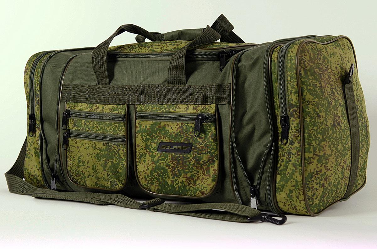 Сумка дорожная Solaris, с изменяемым объемом, цвет: оливковый, 60/75 л. S5111BP-001 BKБольшая дорожная сумка с изменяемым объёмом выполнена высококачественной износостойкой непромокаемой ткани ПВХ, идеально подойдёт для поездок на охоту и рыбалку, пикников, длительных командировок, занятий спортом, автопутешествий, а также для проведения отпуска. Сумка имеет 6 отделений: основное отделение с дополнительными секциями, два больших торцевых кармана, три накладных боковых кармана для мелких вещей. В торцах основного отделения есть дополнительные секции на молниях, которые позволяют увеличить объём сумки на 15 литров. При этом, если дополнительные секции не оспользуются, сумка остаётся достаточно компактной. Общий объём сумки: 60-75 литров.Размеры: 59-73 х 32 х 32 см.