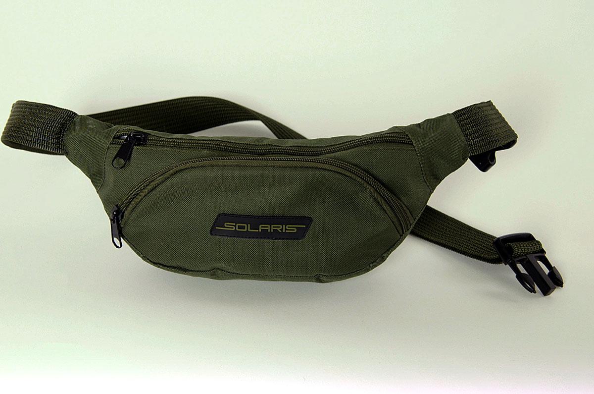 Сумка поясная Solaris, цвет: оливковый. S5401KSA-10347Классическая поясная сумка из высококачественной износостойкой непромокаемой ткани ПВХ для автомобилистов, туристов и ношения в городе. Может использоваться в качестве дополнительного элемента экипировки вместе с дорожной сумкой или рюкзаком. Сумка имеет 3 отделения: основное отделение с внутренним потайным карманом на молнии и накладной карман спереди. Размеры сумки: 34 х 7 х 14 см, регулировка по талии от 85 до 132 см. Большая регулировка поясного ремня по талии позволяет носить сумку и на верхней одежде.