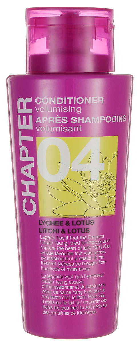 Chapter Кондиционер для волос Chapter с ароматом личи и лотуса, 400 мл8904003500678Кондиционер с ароматом личи и лотоса, придающий объем, имеет нежную и легкую текстуру, которая питает и смягчает волосы, восстанавливая здоровый блеск и сияние. Не утяжеляет волосы, помогает расчесать спутанные пряди. Не содержит парабенов, силиконов и красителей.