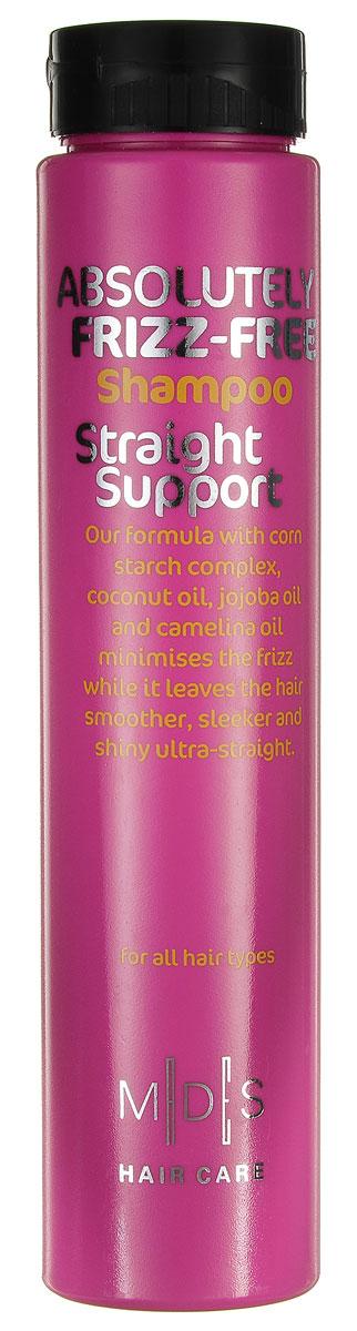 Hair Care Шампунь для вьющихся волос Absolutely Anti-Frizz Straight Support для придания гладкости, 250 мл81308182Шампунь для придания гладкости непослушным и вьющимся волосам. «Салонный» эффект. Экстракт кукурузы разглаживает даже самые непослушные волосы. Комплекс из масел кокоса, жожоба и рыжикового масла в сочетании с экстрактами кукурузы и огурца разделяет волосы по всей длине, увлажняя и снимая статическое напряжение. Не утяжеляет волосы. Подходит для ежедневного применения. Для всех типов волос.