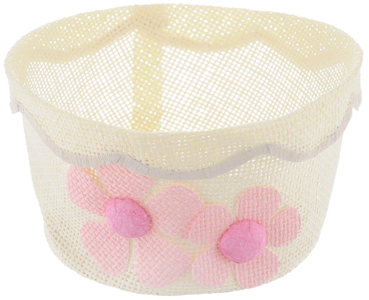 Корзина декоративная Home Queen Незабудки, цвет: бежевый, розовый, диаметр 17,5 см54 009303Декоративная корзинка Home Queen Незабудки прекрасно подойдет для хранения пасхальных яиц, а также различных мелочей. Корзинка с цветочным декором выполнена из прочной бумаги, дно изготовлено из плотного картона. Такая корзинка украсит интерьер дома к Пасхе, внесет частичку тепла и веселья в ваш дом.