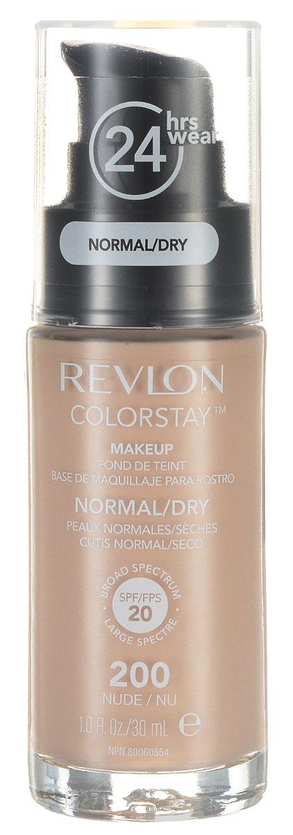 Revlon Тональный Крем для Норм-Сух Кожи Colorstay Makeup For Normal-Dry Skin Nude 200 30 мл7221553004Colorstay - легендарная коллекция тональных средств, выбор ведущих визажистов во всем мире! Colorstay Make Up For Normal / Dry Skin - тональный крем с удивительно легкой текстурой идеально выравнивает тон и рельеф кожи, обеспечивая ей при этом должный уровень увлажнения. Colorstay™ дарит коже приятную матовость, сохраняет макияж безупречным надолго - гарантированная стойкость в течение 24 часов! Предназначен для сухой и нормальной кожи.Наносите крем легкими разглаживающими движениями от центра к контурам с помощью кисти или пальцев, затем растушуйте на границе нанесения: у линии роста волос, в области шеи и ушей.