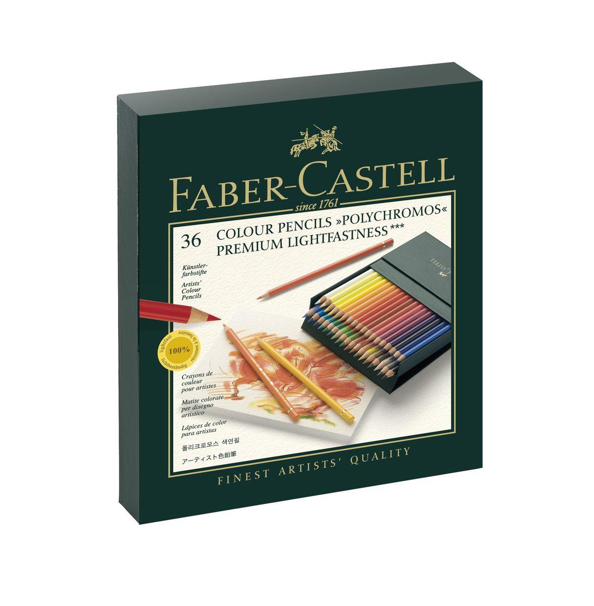 Faber-Castell Цветные карандаши Polychromos 36 цветов110038Цветные карандаши Faber-Castell Polychromos станут незаменимым инструментом для начинающих и профессиональных художников. В набор входят 36 карандашей разных цветов.Особенности карандашей: высокое содержание очень качественныхпигментов гарантирует устойчивость квоздействию света и интенсивность; грифель толщиной 3,8 мм;гладкий грифель на основе воска водоустойчив,не размазывается.Набор цветных карандашей - это практичный художественный инструмент, который поможет вам в создании самых выразительных произведений. Карандаши упакованы в коробку из кожзама, благодаря чему их удобно хранить.