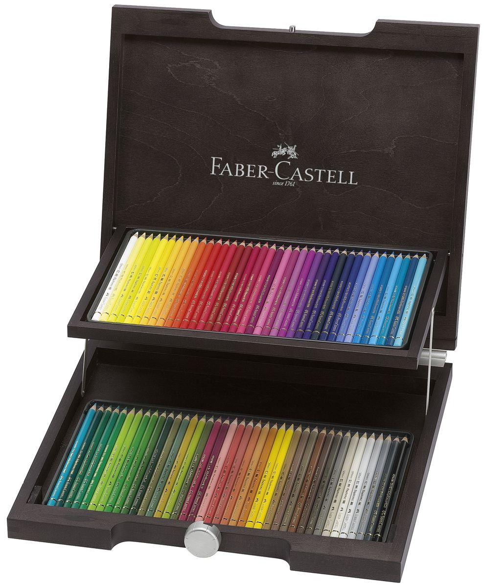 Faber-Castell Художественный набор с цветными карандашами POLYCHROMOS набор цветов в деревянном пенале 72 шт72523WDДеревянный пенал POLYCHROMOS® 1OldDesign. Набор цвет. карандашейPolychromos® в элегантном пенале измореного дерева, 72 шт.