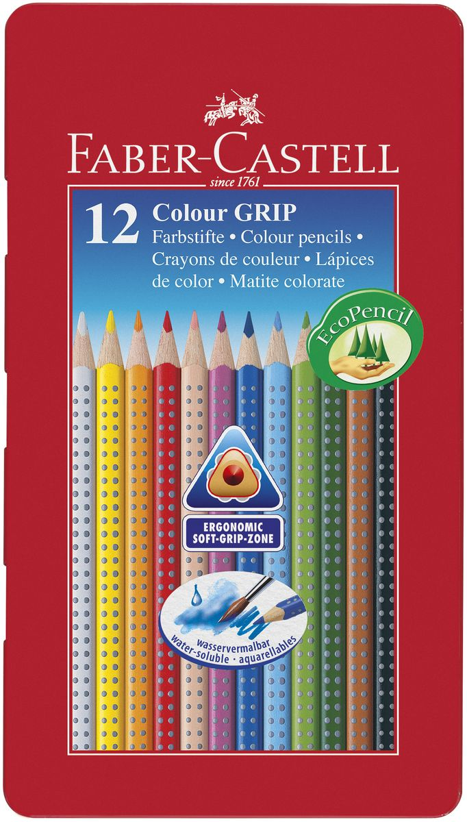 Faber-Castell Цветные карандаши Grip 12 цветов72523WDЦветные карандаши Faber-Castell Grip станут незаменимым инструментом для начинающих и профессиональных художников. В набор входят 12 карандашей разных цветов.Особенности карандашей:запатентованная GRIP-антискользящая зоназахвата с малыми массажными шашечками;яркие, насыщенные цвета; размываемый водой грифель; специальное место для имени; отстирываются с большинства обычных тканей; специальная технология вклеивания (SV)предотвращает поломку грифеля; покрыты лаком на водной основе - бережнымпо отношению к окружающей средеи здоровью детей; качественное, мягкое дерево - гарантия легкогозатачивания при помощи стандартных точилок; эргономичная трехгранная форма.Набор цветных карандашей - это практичный художественный инструмент, который поможет вам в создании самых выразительных произведений.