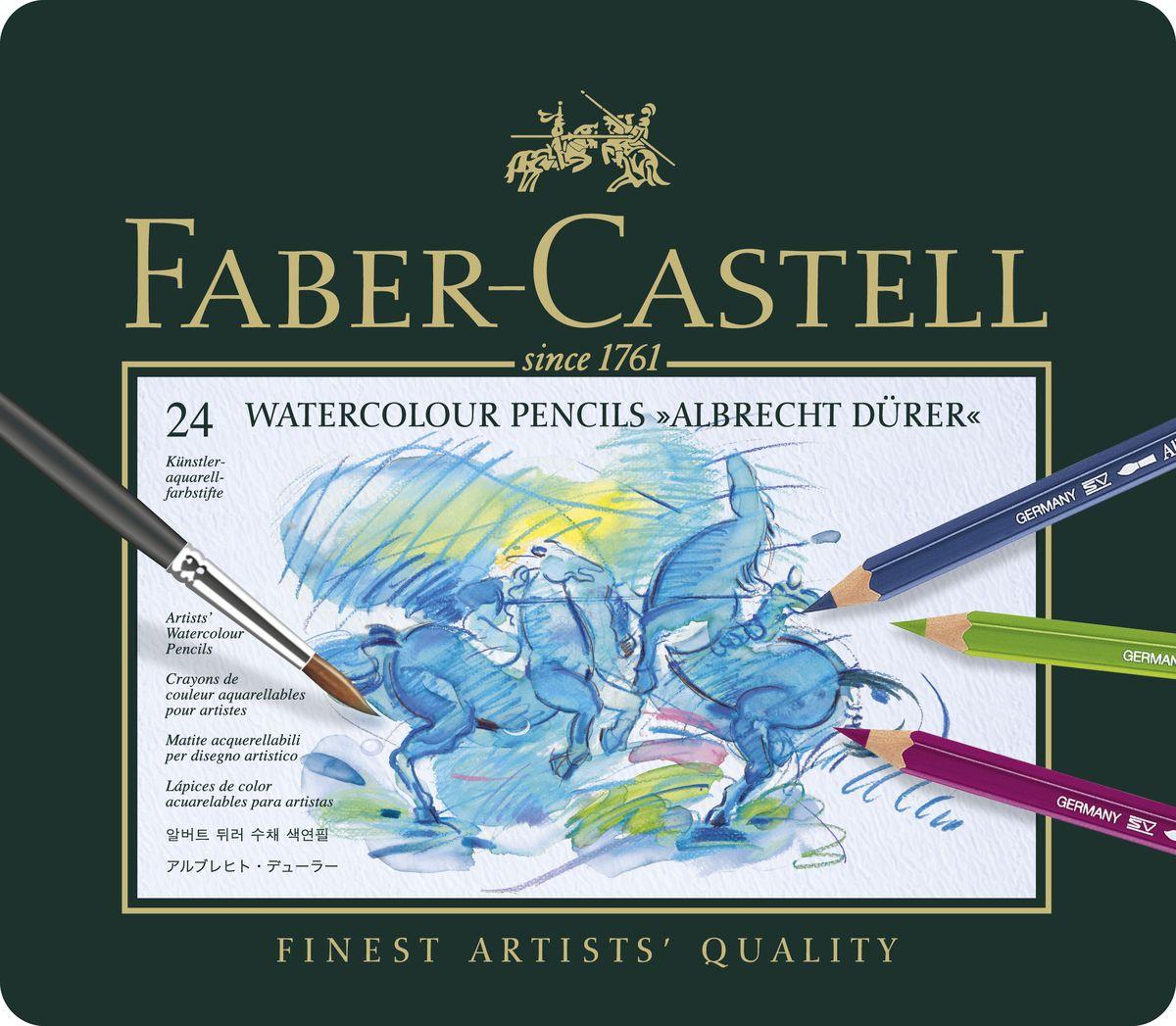 Faber-Castell Акварельные карандаши Albrecht Durer 24 штPDCP-US1-3QP-12Акварельные карандаши наивысшего качества с толстым грифелем толщиной 3,8 мм. Высококачественные пигменты гарантируют устойчивость к выцветанию.