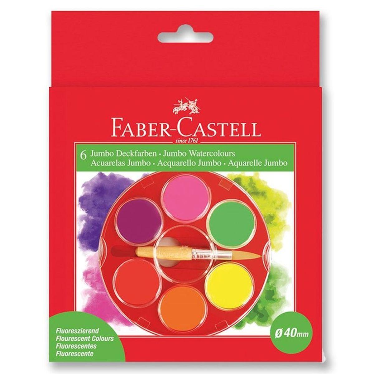 Faber-Castell Акварельные краски Jumbo неоновые 6 штCS-GSA313020Faber-Castell Акварельные краски Jumbo упакованы в кюветы увеличенного диаметра 40 мм. В наборе 6 неоновых цветов.