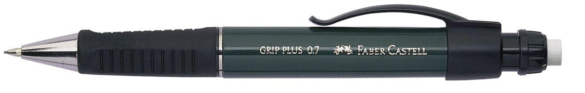 Faber-Castell Карандаш механический Grip Plus цвет корпуса темно-зеленый 130700130700Механический карандаш Faber-Castell Grip Plus - незаменимый атрибут современного делового человека дома и в офисе.Корпус карандаша круглой формы с металлическим наконечником выполнен из высококачественного пластика. Дополнен корпус удобным пластиковым держателем, трехгранной резиновой областью захвата и толстым выдвижным ластиком. Карандаш оснащен инновационной системой, предотвращающей поломку грифеля.Убирающийся внутрь кончик обеспечивает безопасное ношение карандаша в кармане.Порадуйте друзей и знакомых, оказав им столь стильный знак внимания.
