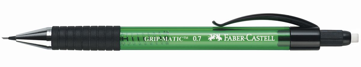 Faber-Castell Карандаш механический Grip-Matic цвет корпуса зеленый 13776372523WDМеханический карандаш Faber-Castell Grip-Matic - незаменимый атрибут современного делового человека дома и в офисе.Корпус карандаша круглой формы выполнен из высококачественного пластика и дополнен резиновой областью захвата и длинным выдвижным ластиком. Карандаш оснащен инновационной системой, позволяющей грифелю выдвигаться в зависимости от письма в оптимальном объеме.Мягкое комфортное письмо и тонкие линии при написании принесут вам максимум удовольствия. Порадуйте друзей и знакомых, оказав им столь стильный знак внимания.