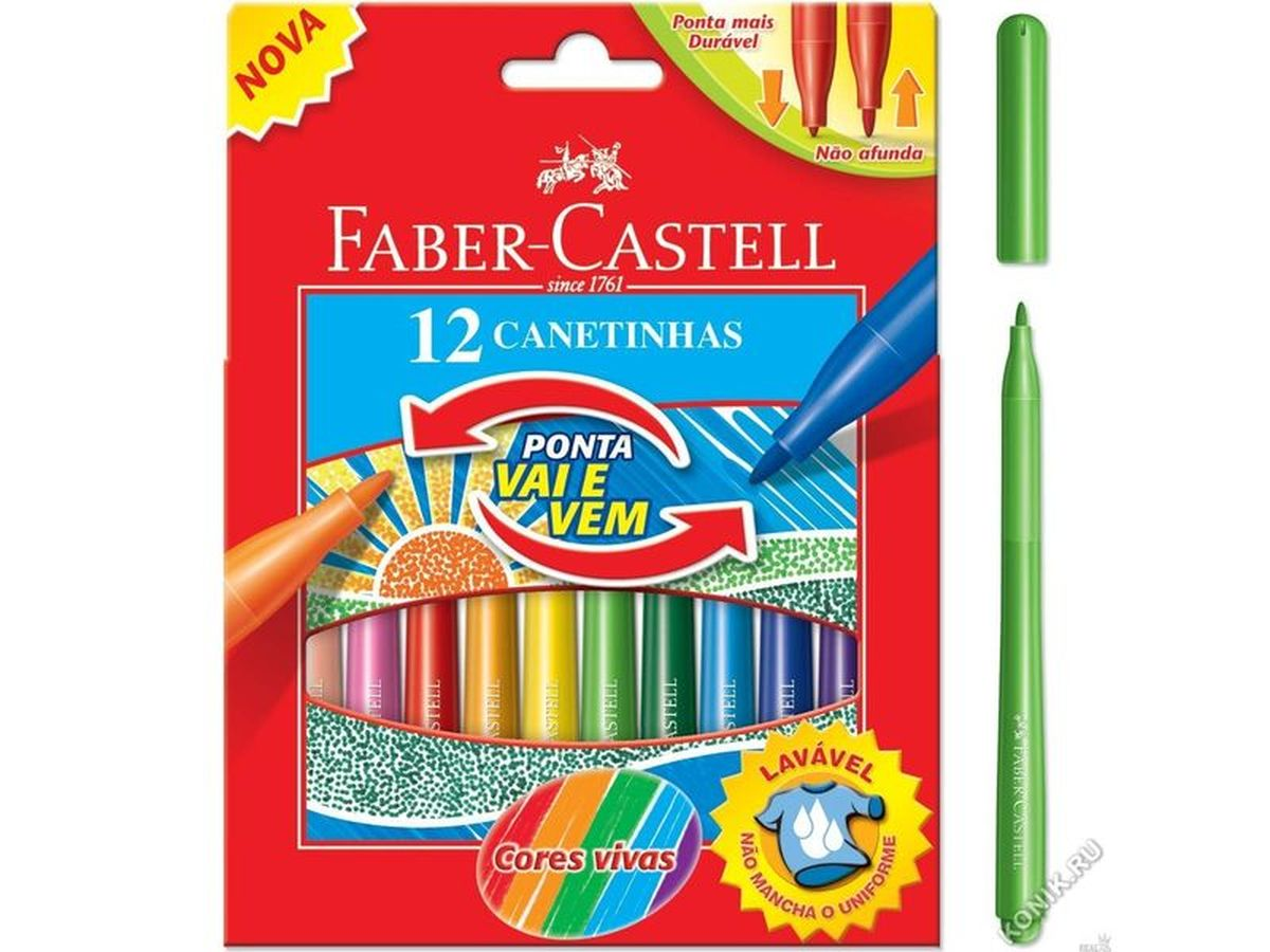 Faber-Castell Фломастеры 12 цветов58-1301Фломастеры Faber-Castell помогут маленькому художнику раскрыть свой творческий потенциал, рисовать и раскрашивать яркие картинки, развивая воображение, мелкую моторику и цветовосприятие. В наборе Faber-Castell  12 разноцветных фломастеров с мягким наконечником. Корпусы выполнены из пластика. Чернила на водной основе окрашены с использованием пищевых красителей, благодаря чему они полностью безопасны для ребенка и имеют яркие, насыщенные цвета. Если маленький художник запачкался - не беда, ведь фломастеры отстирываются с большинства тканей. Вентилируемый колпачок надолго сохранит яркость цветов.