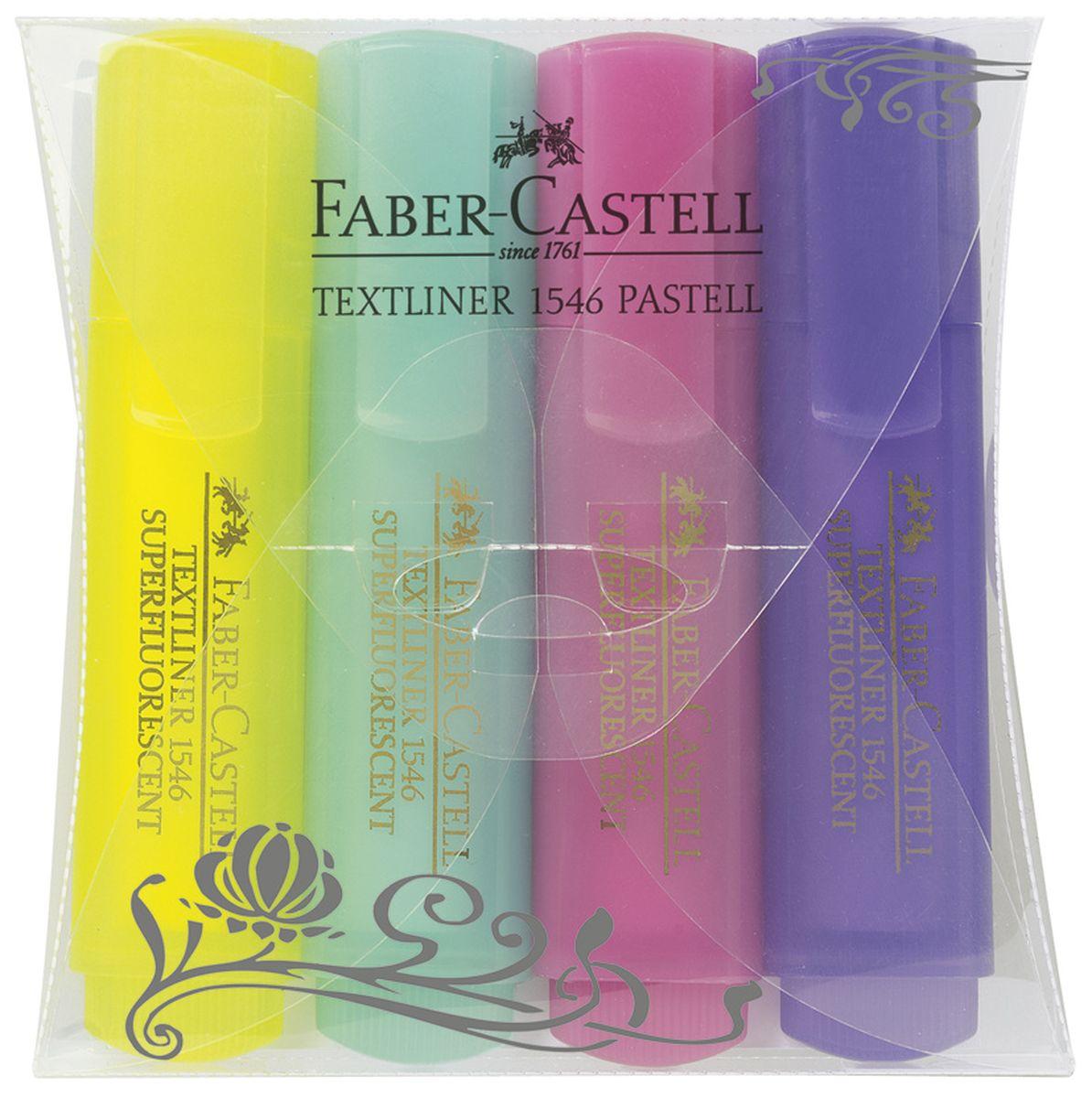 Faber-Castell Текстовыделитель 4 цвета154610Суперфлуоресцентный текстовыделитель Faber-Castell подойдет для выделения текстов на разных видах бумаги, в том числе на бумаге для факсов и копировальных машин, и станет незаменимым атрибутом работы в офисе. Текстовыделитель с клиновидным острием обладает ярким, насыщенным цветом и четким контуром линии шириной 2-5 мм. В наборе 4 текстовыделителя пастельных цветов в привлекательном прозрачном корпусе.