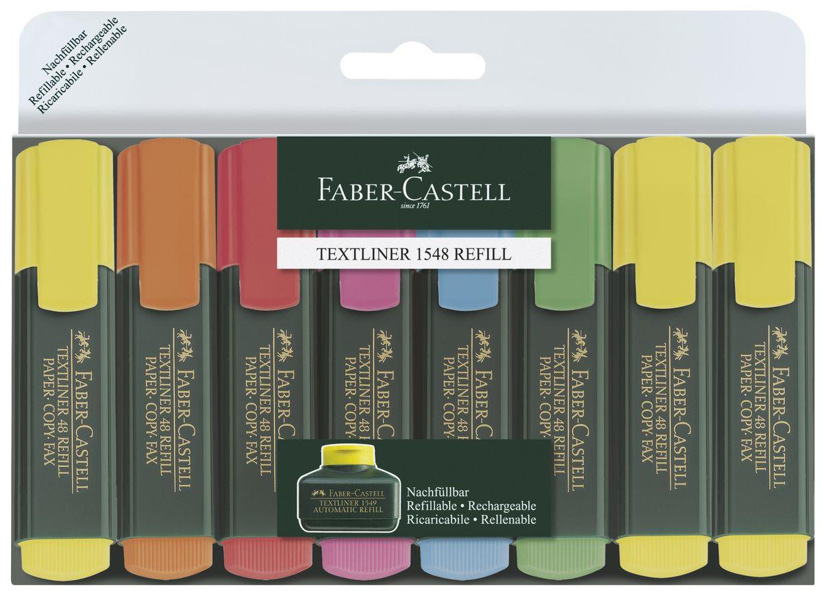 Faber-Castell Набор маркеров 8 шт154862Высококачественные маркеры Faber-Castell идеально подойдут для выделения текста. В набор входят 8 маркеров 6 разных цветов.Особенности: возможность повторного наполнения;чернила на водной основе;идеален для всех видов бумаги;линия маркировки шириной 5, 2 или 1 мм;6 интенсивных цветов