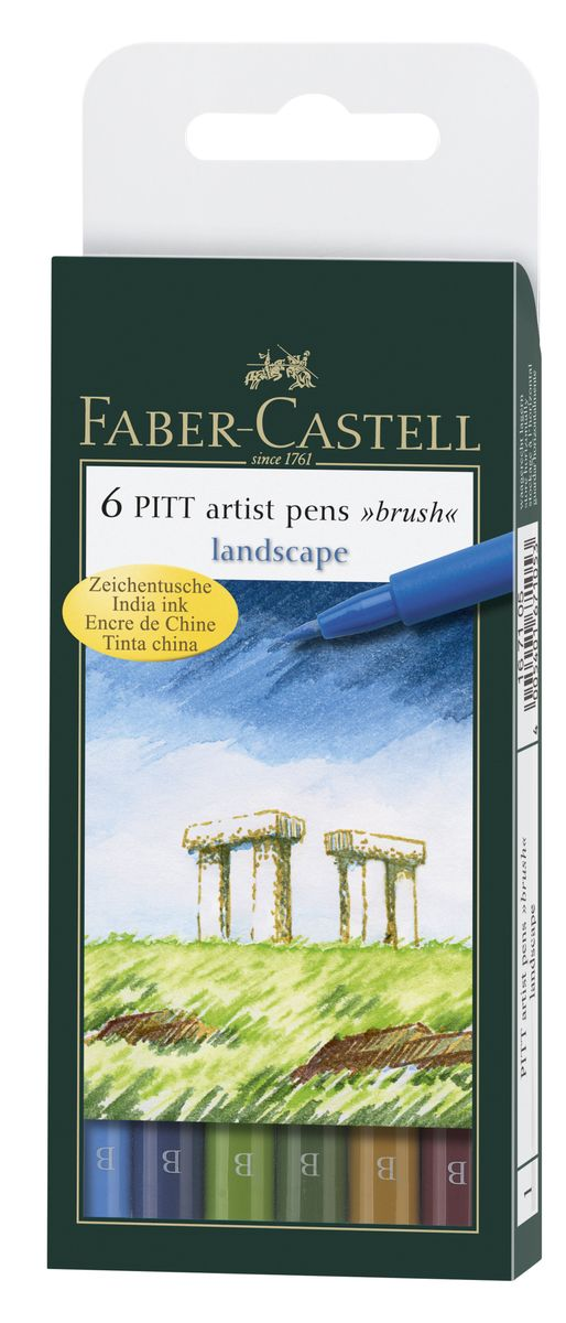 Faber-Castell Капиллярная ручка с кисточкой Pitt Artist Pens Landscape 6 цветов167105Одноразовые капиллярные ручки с кисточками Faber-Castell Landscape станут незаменимым инструментом для начинающих и профессиональных художников. В набор входят 6 ручек естественных оттенков - голубой, синий, зеленый, темно-зеленый, охра, терракотовый.Заостренные кончики ручек позволяют проводить тончайшие линии. Чернила не выцветают на свету , не стираются и не размываются водой, не имеют неприятного запаха и pH-нейтральны.Набор художественных капиллярных ручек с кисточками - это практичный и современный художественный инструмент, который поможет вам в создании самых выразительных произведений.