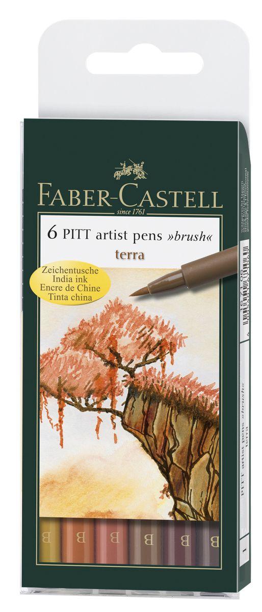 Faber-Castell Капиллярные ручки с кисточкой Pitt Artist Pens Terra 6 цветов72523WDОдноразовые капиллярные ручки с кисточками Faber-Castell Terra станут незаменимым инструментом для начинающих и профессиональных художников. В набор входят 6 ручек теплых естественных оттенков - светло-желтый, оранжевый, светло-коричневый, терракотовый, коричневый и телесно-бежевый.Заостренные кончики ручек позволяют проводить тончайшие линии. Чернила не выцветают на свету, не стираются и не размываются водой, не имеют неприятного запаха и pH-нейтральны.Набор художественных капиллярных ручек с кисточками - это практичный и современный художественный инструмент, который поможет вам в создании самых выразительных произведений.