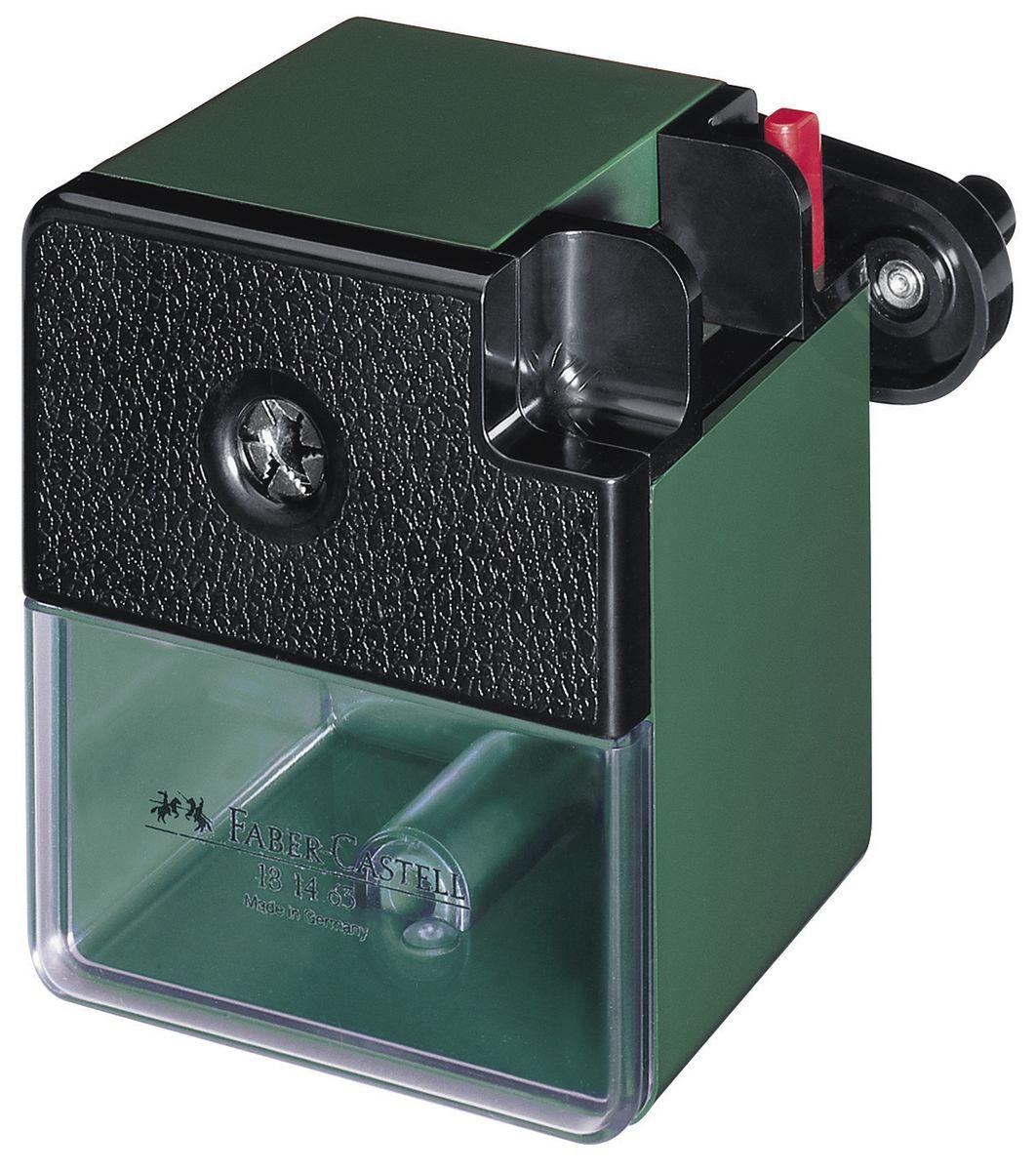 Faber-Castell Точилка настольная цвет темно-зеленый181463Точилка Faber-Castell - удобный и практичный инструмент в повседневной офисной работе.Точилка из высококачественного пластика оснащена рукояткой с механизмом кругового вращения и съемным контейнером для стружки. Вращающийся, остро заточенный металлический нож точилки обеспечивает бережную и качественную заточку круглых, шестигранных и трехгранных карандашей.В комплекте с точилкой предусмотрено крепление к столу.