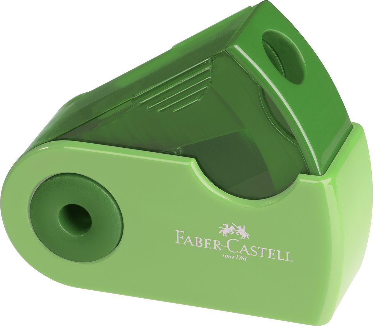 Faber-Castell Точилка Sleeve цвет зеленый182712Точилка Faber-Castell Sleeve выполнена из прочного пластика.В точилке имеется одно отверстие для различных видов карандашей. Эргономичная форма контейнера обеспечивает стабильное положение кисти. Карандаш затачивается легко и аккуратно, а опилки после заточки остаются в специальном контейнере повышенной вместимости.
