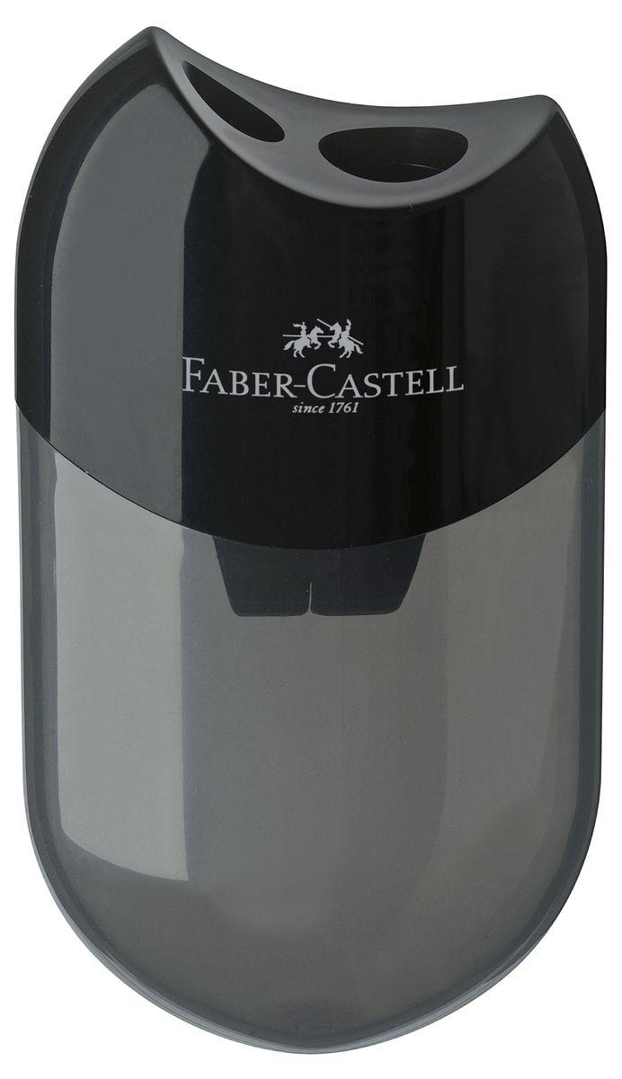 Точилка Faber-Castell выполнена из прочного пластика.В точилке два отверстия для классических, трехгранных, простых и цветных карандашей.Эргономичная форма контейнера обеспечивает стабильное положение кисти.Карандаш затачивается легко и аккуратно, а опилки после заточки остаются в специальном контейнереповышенной вместимости.