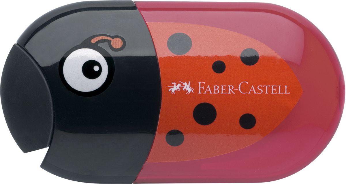 Faber-Castell Точилка с контейнером и ластиком Божья коровка183526Точилка с двумя отверстиями Faber-Castell Божья коровка - это качественная простая точилка с контейнером для стружек и ластиком.Точилка выполнена в привлекательном дизайне и предназначена для всех типов карандашей.