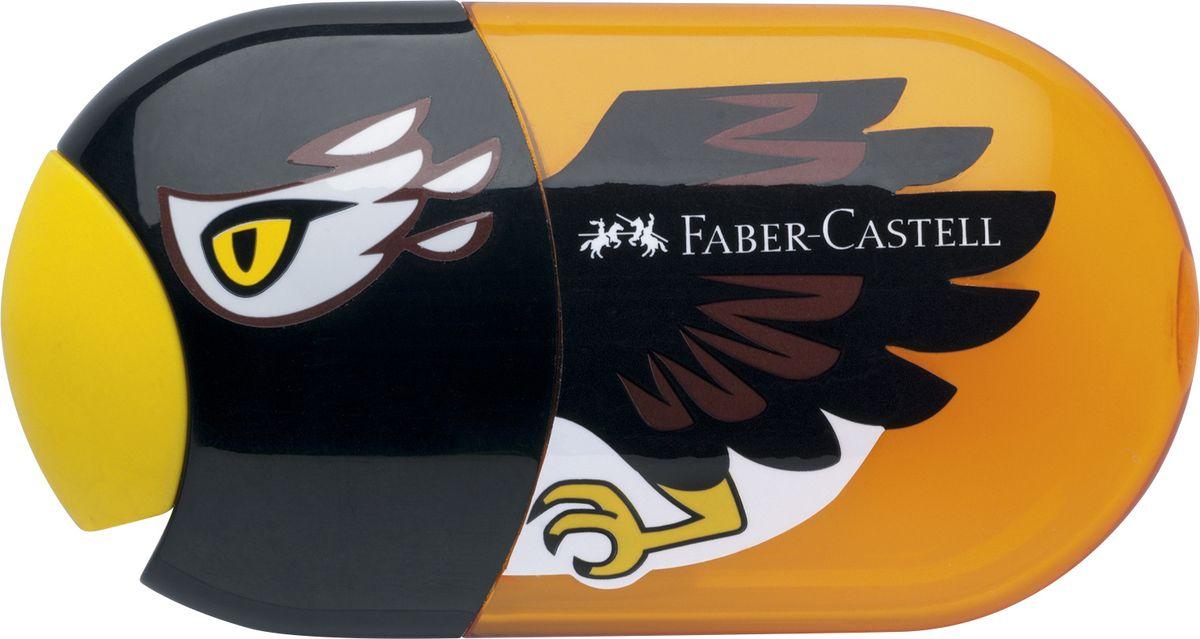 Faber-Castell Точилка с контейнером и ластиком Орел183527Точилка с двумя отверстиями Faber-Castell - это качественная простая точилка с контейнером для стружек и ластиком.Точилка выполнена в привлекательном детском дизайне в виде орла и предназначена для всех типов карандашей.