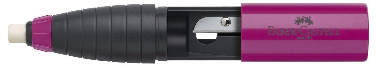 Faber-Castell Точилка со встроенным ластиком цвет ежевичный263332_розовый, серыйТочилка со встроенным ластиком Faber-Castell предназначена для заточки стандартных чернографитных и цветных карандашей диаметром до 10 мм. В корпус, форма которого имитирует короткий толстый карандаш, встроена точилка для карандашей и твердый ластик (изготовленный без добавления ПВХ). Ластик выдвигается из корпуса, если покрутить цветное пластиковое колечко снизу изделия. Общая длина ластика - 2 см. Защитный кожух на точилке имеет 2 положения - закрыто и открыто. Можно поточить карандаш и закрыть отверстие для заточки, если в этот момент нет возможности вытряхнуть стружку. Чтобы очистить точилку, нужно повернуть кожух в положение между открыто и закрыто и аккуратно стянуть его с корпуса.