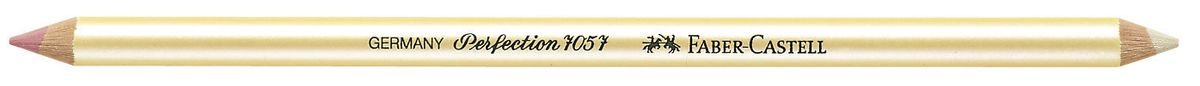 Faber-Castell Корректор-карандаш Perfection 7057 двухсторонний185712Корректирующий двухсторонний карандаш Faber-Castell Perfection отлично подойдет для точного стирания мелких деталей.Белый твердый корректор легкосправляется со следами туши и чернил, розовый мягкий - со следами графитного грифеля и угля.Правильный подбор корректора и, разумеется, его качество имеетрешающее значение для достижения нужного результата.