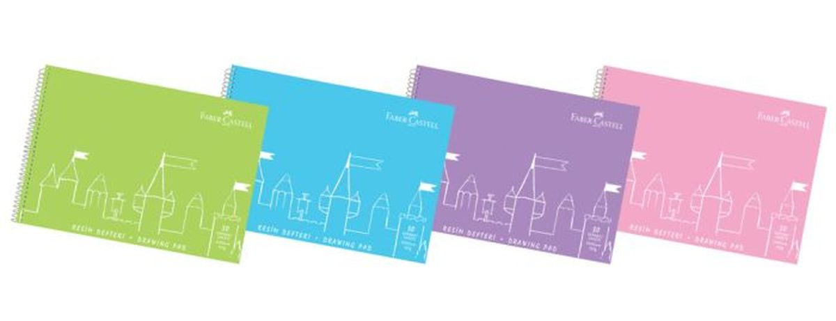Faber-Castell Блокнот для рисования 35*50см 30 стр29276_серо-синий• бумага 120 гр.• 15 листов с индивидуальной перфорацией• пластиковая спираль• пластиковая обложка в 4 цветах: зеленый,синий, фиолетовый, розовый• формат А3