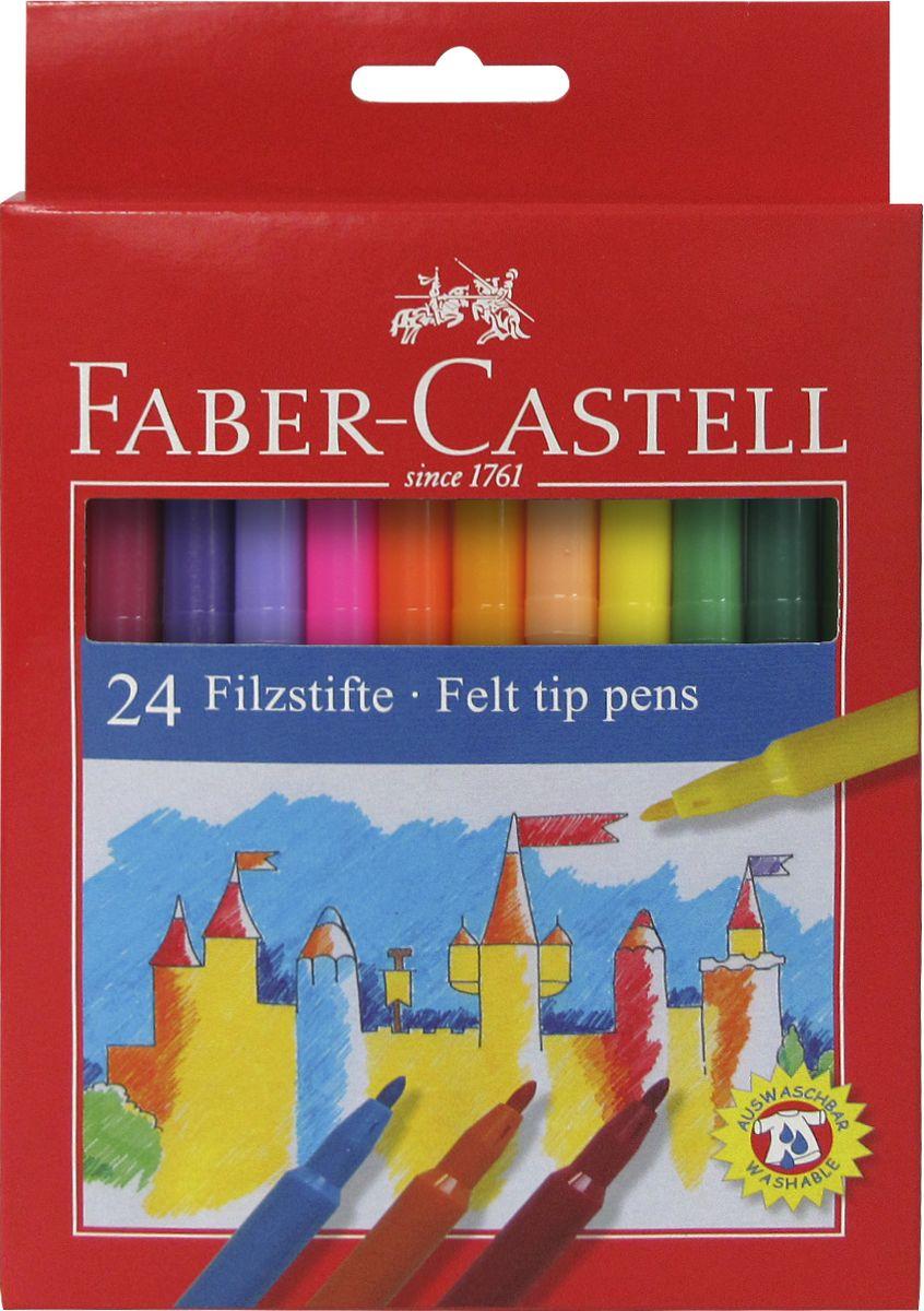 Faber-Castell Фломастеры 24 цвета554224Фломастеры Faber-Castell помогут маленькому художнику раскрыть свой творческий потенциал, рисовать и раскрашивать яркие картинки, развивая воображение, мелкую моторику и цветовосприятие. В наборе 24 разноцветных фломастера. Корпусы выполнены из пластика. Чернила на водной основе окрашены с использованием пищевых красителей, благодаря чему они полностью безопасны для ребенка и имеют яркие, насыщенные цвета. Если маленький художник запачкался - не беда, ведь фломастеры отстирываются с большинства тканей. Вентилируемый колпачок надолго сохранит яркость цветов.