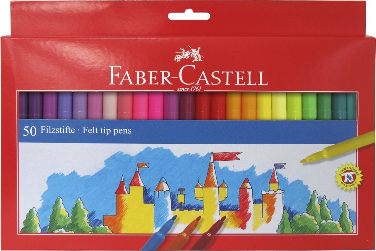 Faber-Castell Фломастеры набор цветов в картонной коробке 50 шт72523WDочень качественные фломастеры• чернила на водной основе с добавлениемпищевых красителей• яркие, насыщенные цвета• отстирываются с большинства обычных тканей• вентилируемый колпачок