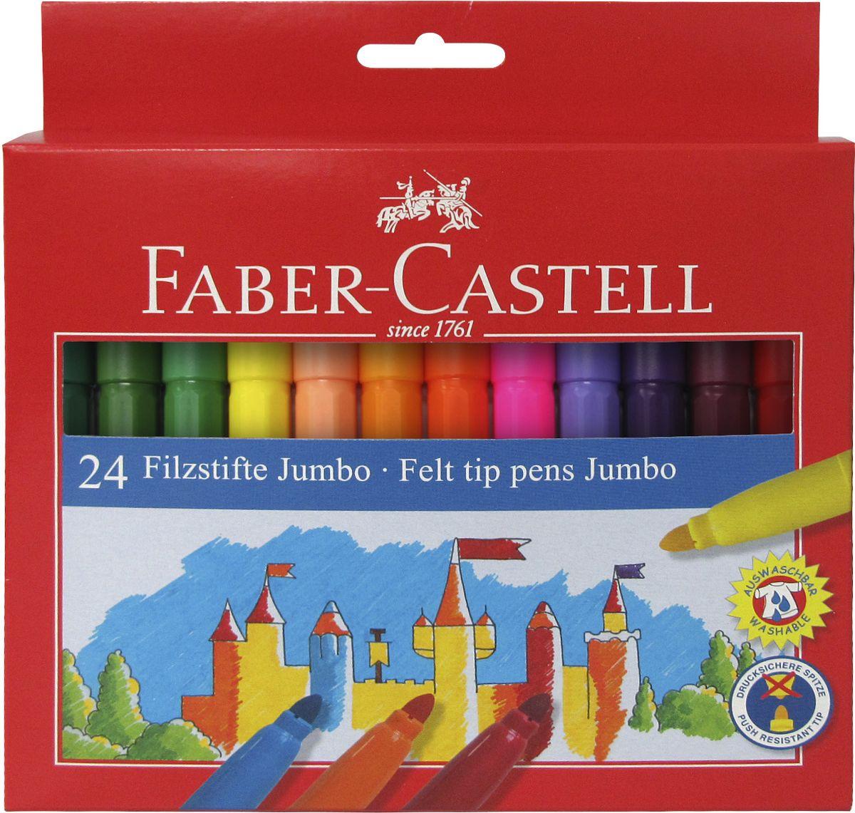 Faber-Castell Фломастеры Jumbo 24 цвета0775B001Фломастеры Faber-Castell Jumbo помогут маленькому художнику раскрыть свой творческий потенциал, рисовать и раскрашивать яркие картинки, развивая воображение, мелкую моторику и цветовосприятие. В наборе Faber-Castell Jumbo 12 разноцветных фломастеров. Корпусы выполнены из пластика. Чернила на водной основе окрашены с использованием пищевых красителей, благодаря чему они полностью безопасны для ребенка и имеют яркие, насыщенные цвета. Если маленький художник запачкался - не беда, ведь фломастеры отстирываются с большинства тканей. Вентилируемый колпачок надолго сохранит яркость цветов.Не рекомендуется детям до 3-х лет.