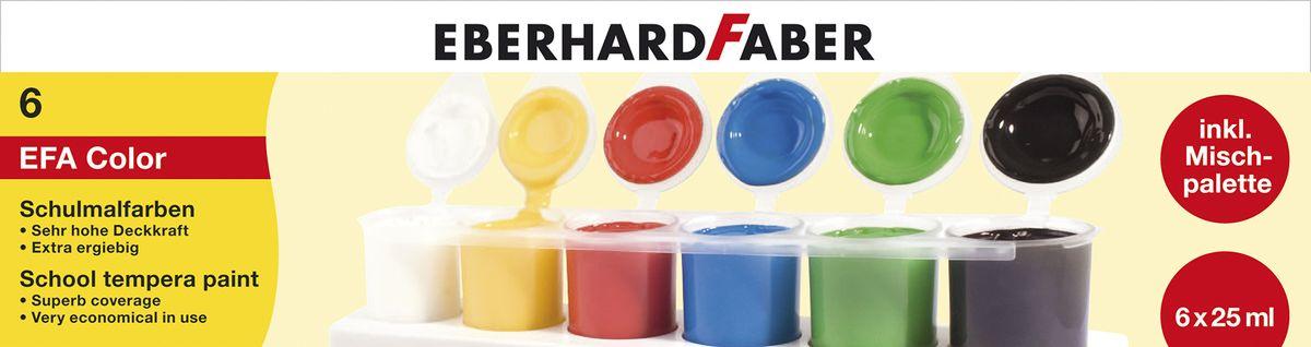 Eberhard Faber Краски пальчиковые Tempera 6 цветов72523WDС пальчиковыми красками Eberhard Faber Tempera ваш ребенок сможет интересно и полезно проводить свободное время.Качественные материалы абсолютно безопасны для здоровья. Краски без труда смоются с рук при помощи воды и мыла.Создавая оригинальные рисунки при помощи ярких оттенков красок и собственных пальцев ваш малыш будет развивать в себе творческие способности.