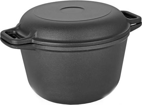 Казан Vari Litta, с крышкой-сковородой, цвет: черный, 5 лКП70Серия посуды от Vari Litta – классическая литая посуда (дно до 6 мм, стенки до 4,5 мм) с качественным и безопасным антипригарным покрытием XYLAN. Для изготовления заготовок используется метод кокильного литья, что позволяет получить высококачественную тяжелую посуду и гарантирует долговечность изделия. Равномерное распределение и длительное сохранение тепла за счет утолщенного дна позволяет готовить блюда любой степени сложности. Жаростойкое внешнее покрытие позволяет использовать сковороды на стеклокерамических поверхностях. Посуду линии Litta можно мыть в посудомоечных машинах.Не выделяет вредных веществ. Не содержит PFOA. Посуда Litta прослужит на вашей кухне долгие годы!