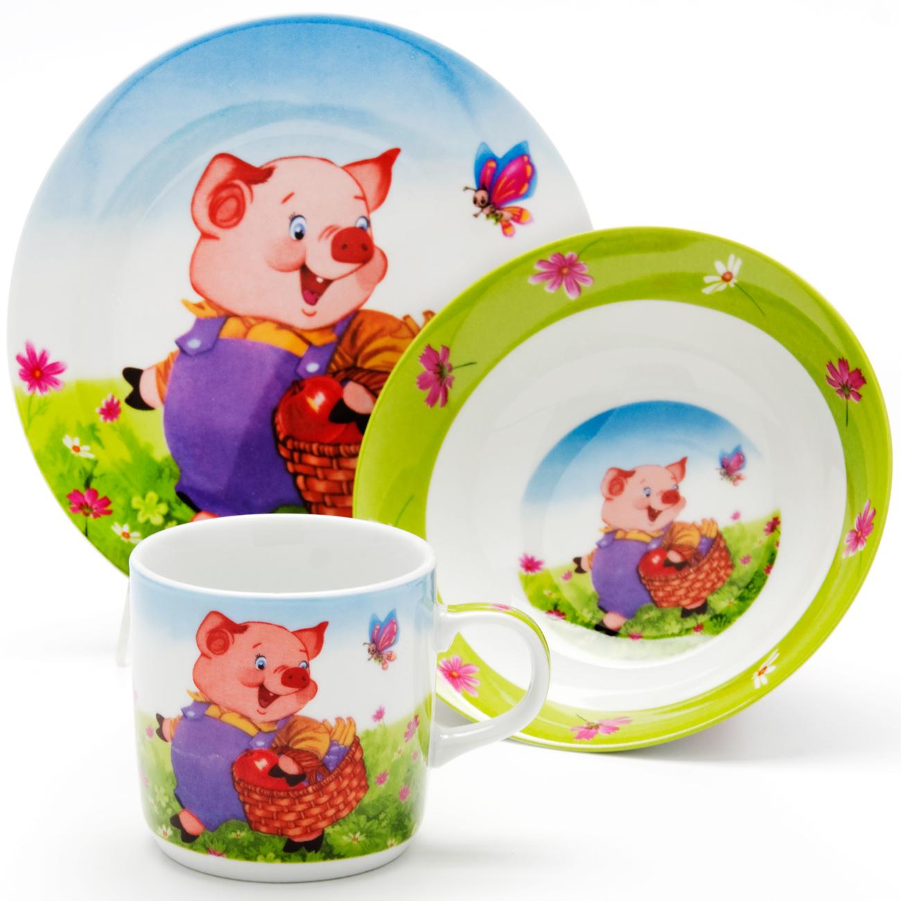 Набор посуды Loraine Поросенок, 3 предмета115510Набор посуды Поросенок сочетает в себе изысканный дизайн с максимальной функциональностью. В набор входят суповая тарелка, обеденная тарелка и кружка. Предметы набора выполнены из высококачественной керамики, декорированы красочным рисунком. Благодаря такому набору обед вашего ребенка будет еще вкуснее. Набор упакован в красочную, подарочную упаковку.Диаметр суповой тарелки: 15 см.Диаметр обеденной тарелки: 17,5 см.Объем кружки: 230 мл.