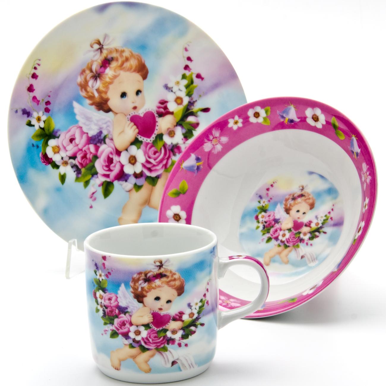 Набор посуды Loraine Ангел, 3 предмета115510Набор посуды Loraine сочетает в себе изысканный дизайн с максимальной функциональностью. В набор входят суповая тарелка, обеденная тарелка и кружка.Предметы набора выполнены из высококачественной керамики, декорированы красочным рисунком. Благодаря такому набору обед вашего ребенка будет еще вкуснее. Набор упакован в красочную, подарочную упаковку. Диаметр суповой тарелки: 15 см.Диаметр обеденной тарелки: 17,5 см.Объем кружки: 230 мл.