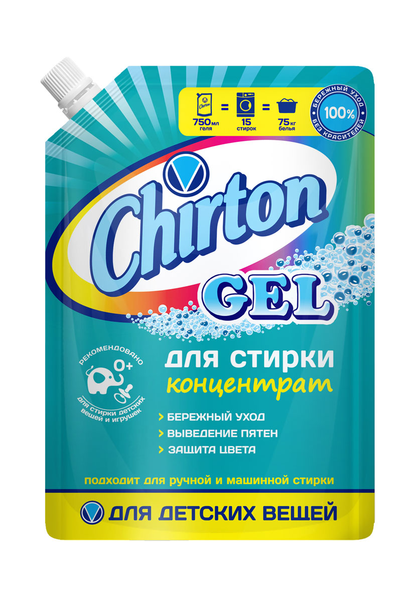Гель для стирки Chirton концентрированный для детского белья 750млK100Современная упаковка дой-пак делает гели удобными при покупке и надежными в хранении (не рассыпаются, не намокают). Легко и удобно дозируются, экономный расход. Отстирывают самые различные загрязнения. Бережно воздействуют на ткани. Хорошо растворяются в воде, легко выполаскиваются. Подходят для ручной и машинной стирки.