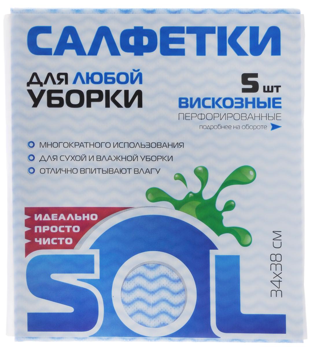 Салфетка для уборки Sol из вискозы, перфорированная, цвет: белый, голубой, 34 x 38 см, 5 штVCA-00Перфорированные салфетки для уборки Sol, выполненные из вискозы, предназначены для уборки и могут применяться с различными моющими средствами. Эффективно впитывают жидкость. Мягкие и прочные, легко отжимаются и быстро сохнут.Рекомендации по уходу: Для обеспечения гигиеничности уборки после применения прополоскать в теплой воде.Для продления срока службы не применять машинную стирку, не гладить и не кипятить.