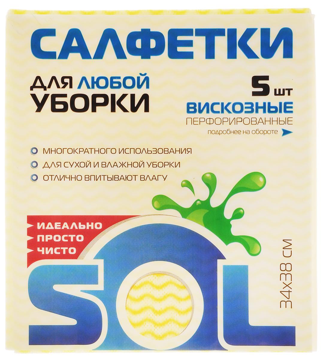Салфетка для уборки Sol из вискозы, перфорированная, цвет: желтый, белый, голубой, 34 x 38 см, 5 шт10503Перфорированные салфетки для уборки Sol, выполненные из вискозы, предназначены для уборки и могут применяться с различными моющими средствами. Эффективно впитывают жидкость. Мягкие и прочные, легко отжимаются и быстро сохнут.Рекомендации по уходу: Для обеспечения гигиеничности уборки после применения прополоскать в теплой воде.Для продления срока службы не применять машинную стирку, не гладить и не кипятить.