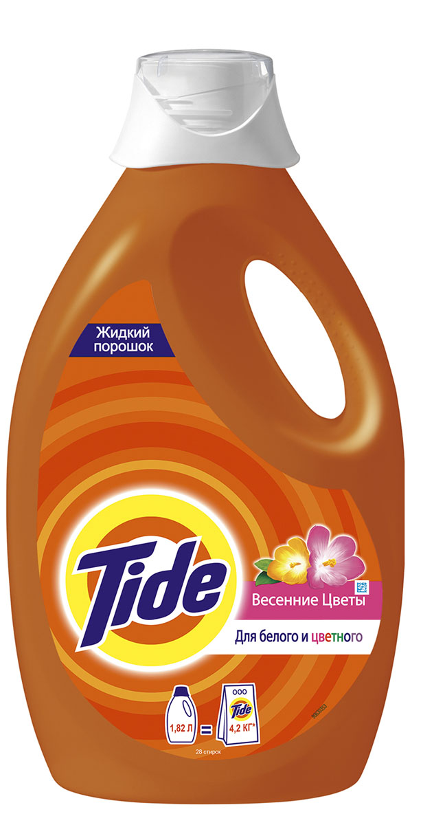 Жидкий стиральный порошок Tide Весенние цветы, 1,82 лS03301004100% чистота Tide за 1 стирку! Новое жидкое средство для стирки Tide: вам стоит его попробовать! Дарит 100% чистоту Tide за 1 стирку без проблем, а также предлагает преимущества жидкого средства. Больше не нужно волноваться о следах стирального порошка! Предоставьте стирку новому Tide! 1. Идеальная чистота Tide 2. На одежде больше нет следов порошка – нет причин волноваться! 3. 1 стирального средства достаточно: уход за цветными вещами и идеальная белизна Tide стирка за стиркой!4. Легко наливать и дозировать: 1 крышечка = 1 загрузка