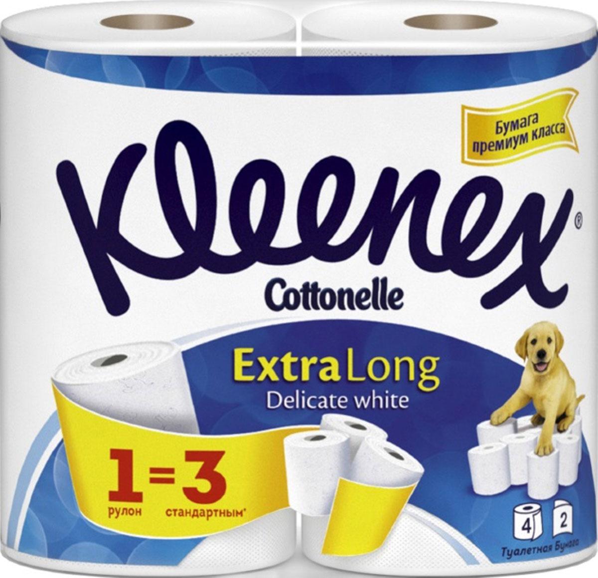 Kleenex Cottonelle Туалетная бумага Extra Long, двухслойная, цвет: белый, 4 рулона. 9450044531-401Туалетная бумага Kleenex Cottonelle Extra Long изготовлена из целлюлозы высшего качества. Двухслойные листы белого цвета имеют рисунок с тиснением. Мягкая, нежная, но в тоже время прочная, бумага не расслаивается и отрывается строго по линии перфорации.