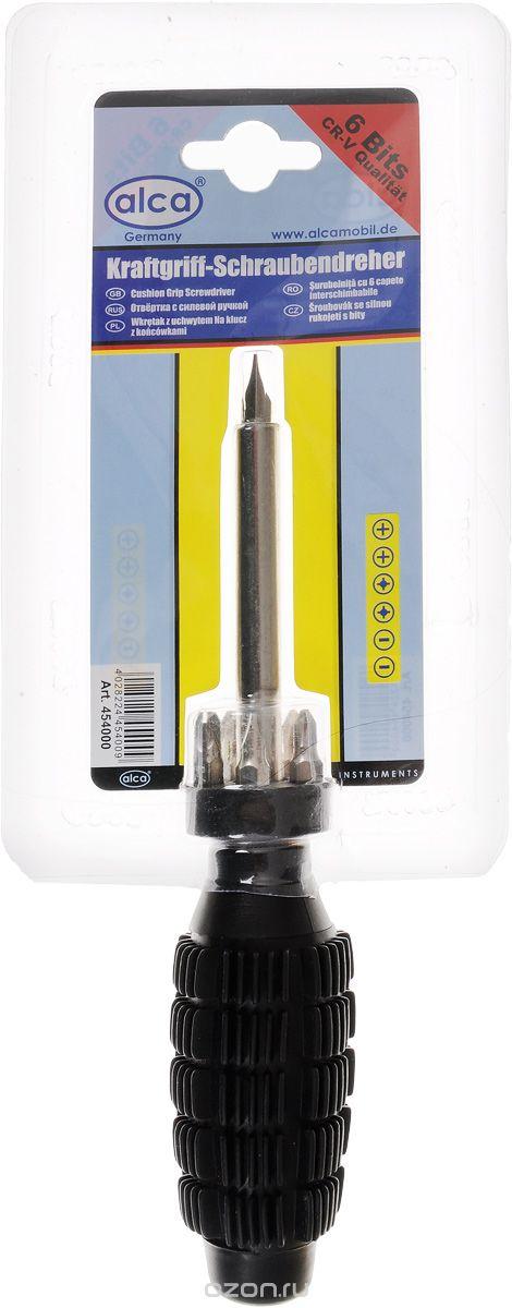 Отвертка Alca, с силовой ручкой, со сменными насадками, 6 бит98298123_черныйОтвертка Alca с набором бит предназначена для монтажа и демонтажа резьбовых соединений. Биты изготовлены из хром-ванадиевой стали. Прорезиненная рукоятка отвертки обеспечит надежный и удобный хват. Отвертка фиксируется в держателе с помощью магнита.В набор входит:Отвертка-битодержатель.Удобное хранилище для бит.Биты: 6 шт.