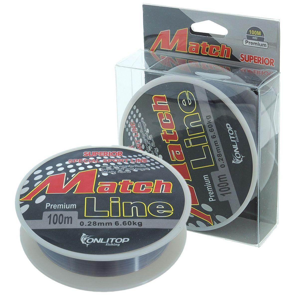 Леска Onlitop Match Line, цвет: серый, 100 м, 0,28 мм, 6,6 кг onlitop m 105025