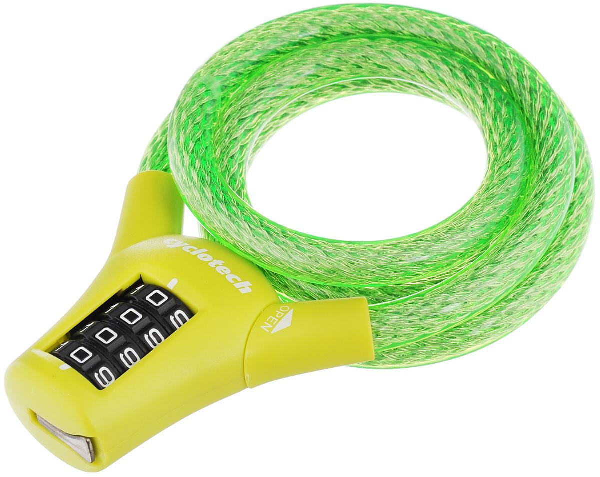 Велозамок кодовый Cyclotech, цвет: зеленый, салатовый, диаметр 1 см, длина 90 смCLK-3GRВелосипедный замок Cyclotech - это отличная вещь для сохранности вашего велосипеда. Замок, выполненный из прочного пластика, оснащен металлическим тросом обтянутым мягким ПВХ. Блокируется при помощи кода.Диаметр троса: 1 см.Длина: 90 см.