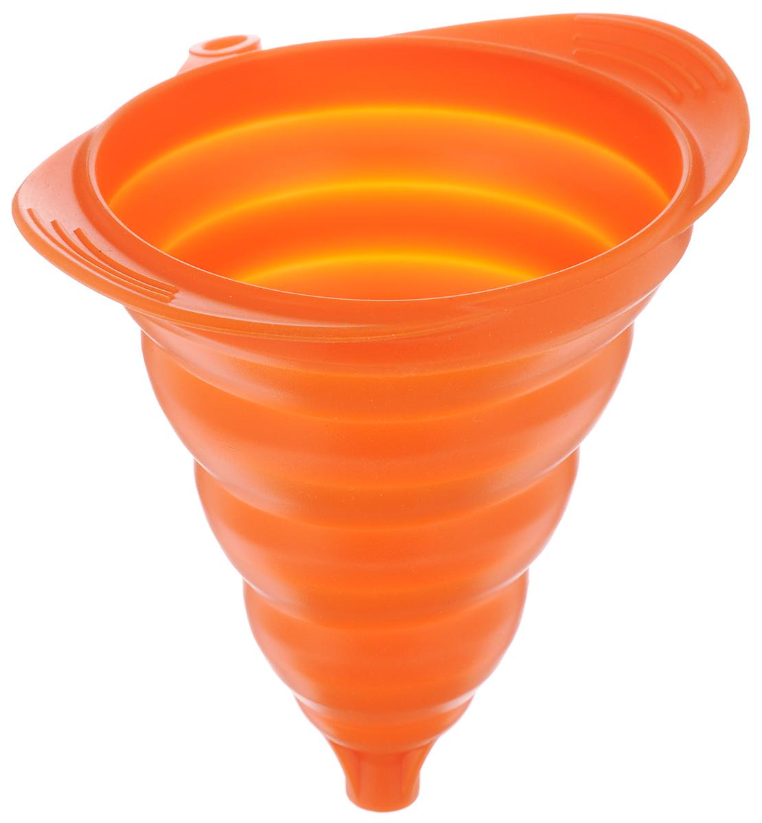 Воронка Mayer & Boch, силиконовая, складная, цвет: оранжевый, 16 х 13 см40970Воронка Mayer & Boch изготовлена извысококачественного экологически чистогопищевого силикона. Предназначена дляпереливания как холодных, так и горячихжидкостей, а также для пересыпания сыпучихпродуктов - соли, сухих приправ и т.д. Благодаряуникальной складывающейся конструкции подходитпод емкости с различным диаметром горлышка изанимает мало места при хранении.Силикон выдерживает температуру от -40°С до210°С. Можно мыть в посудомоечной машине.Размер воронки: 16 х 13 см.Высота в сложенном виде: 2 см.
