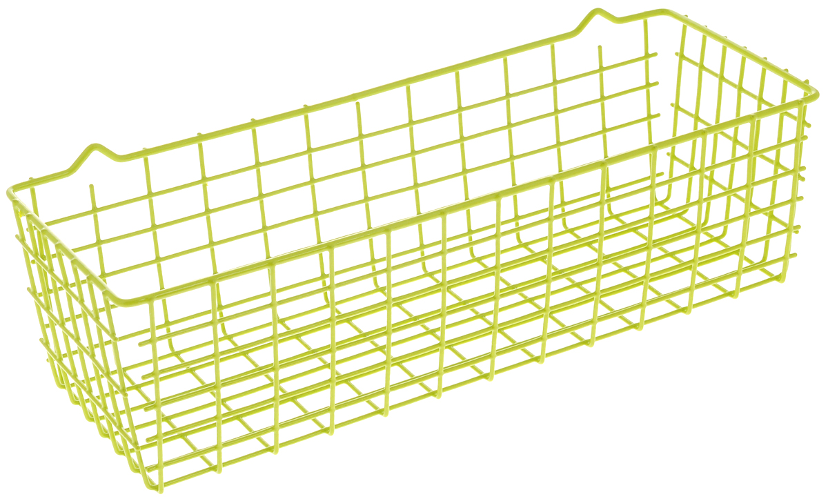 Корзина универсальная Metaltex Pandino, цвет: зеленый, 33 х 12 х 9 смБрелок для ключейУниверсальная корзина Metaltex Pandino изготовлена из стали, покрытой краской с эпоксидным порошком. Изделие может использоваться для хранения принадлежностей для мытья посуды, различных бытовых предметов и мелочей, инструментов в гараже и многого другого. Корзина оснащена специальными петельками для подвешивания к стене.