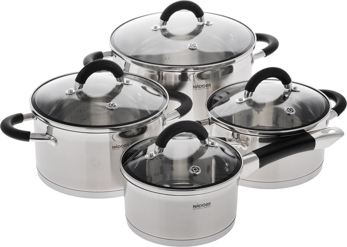 Набор посуды Nadoba Olina, 8 предметов25176Набор посуды Nadoba Olina, выполненный из нержавеющей стали 18/10, состоит из трех кастрюль (6 л, 3,2 л и 2,1 л) и ковша (1,5 л), оснащенных крышками из жаропрочного стекла. Изделия имеют прочное трехслойное капсульное дно, что обеспечивает равномерное термораспределение. Крышки оснащены отверстиями для выпуска пара и силиконовыми кольцами для более плотного прилегания. Посуда также имеет удобные ненагревающиеся ручки с силиконовым покрытием и маркировку литража.Изделия подходят для использования на всех видах плит, в том числе и на индукционных.Можно мыть в посудомоечной машине.Диаметр 6-литровой кастрюли (по верхнему краю): 24 см.Диаметр 3,2-литровой кастрюли (по верхнему краю): 20 см.Диаметр 2,1-литровой кастрюли (по верхнему краю): 18 см.Диаметр ковша (по верхнему краю): 16 см.Размер 6-литровой кастрюли (с учетом крышки и ручек): 23 х 33 х 25 см.Размер 3,2-литровой кастрюли (с учетом крышки и ручек): 17 х29 х 21 см.Размер 2,1-литровой кастрюли (с учетом крышки и ручек): 16 х29 х 19 см.Размер ковша (с учетом крышки и ручки): 15 х 34 х 17 см.