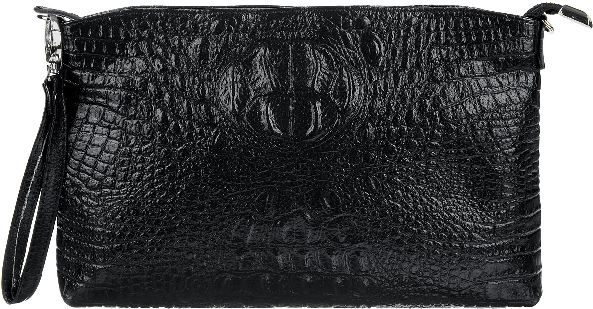 Сумка-клатч женская Cheribags, цвет: черный. 618-10L39845800Стильная женская сумка-клатч Cheribags выполнена из натуральной кожи с тиснением под крокодила. Изделие имеет одно основное отделение, разделенное пополам карманом-средником на застежке-молнии. Закрывается сумка-клатч на застежку-молнию. Внутри расположены два накладных открытых кармана и прорезной карман на застежке-молнии. Снаружи, на задней стенке расположен прорезной карман на застежке-молнии. Изделие оснащено съемным регулируемым наплечным ремнем и съемным ремешком на запястье. Роскошная сумка-клатч внесет элегантные нотки в ваш образ и подчеркнет ваше отменное чувство стиля.